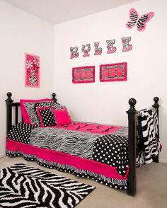 Custom made twin hot pink zebra bedding sets. $375.00, via Etsy.