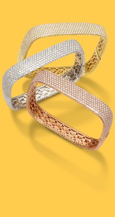 There is nothing square about these unique Pave Squared Bangles in yellow, white or rose gold set with diamonds. Gold Bangle Bracelet, Diamond Bracelets, Ankle Bracelets, Gold Bangles, Silver Bracelets, Mesh Bracelet, Bracelet Watch, Gold Rings Jewelry, Emerald Jewelry