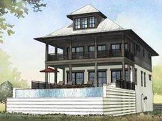 Modern Coastal Beach House with Pool - Watersound Floor Plan - SketchPad House Plans Beach Cottage Style, Coastal Cottage, Coastal Homes, Coastal Living, Coastal House Plans, Beach House Plans, Up House, River House, Farm House