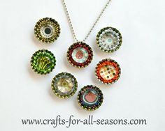 Create one of a kind bottle cap necklaces from scrapbook paper and glass stones - From Crafts For All Seasons