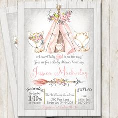 Baby Shower Rustic Girl Invitations New Ideas