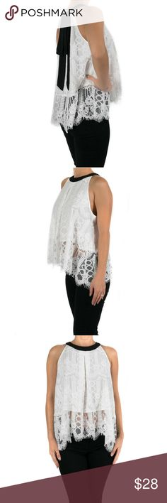 Halter Lace Top with Contrast Bow Back Dainty sweet sleeveless lace top.  Swing silhouette with a back hook and eye closure.  Scalloped lace edge and partially lined.      Color - White/Black.      75%Cotton25%Rayon.     Size-S,M,L Classic Paper Doll Tops Blouses