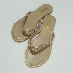 Gold Soda sandals REPOSH! I ordered these and they were a bit small for me. Like new! Sparkle & gemstone embellishments. Gold metal toe. Super cute! Soda Shoes Sandals
