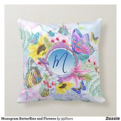 Monogram Butterflies and Flowers Throw Pillow