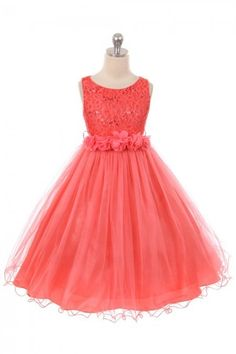 190e6821f94 Coral Sleeveless Shiny Tulle Flower Girls Dress with Floral Waist sash