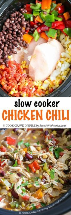 This is my go to crock pot recipe because it's SO good! Slow Cooker Chicken Chili is delicious and hearty; loaded with veggies and beans. The perfect meal to come home to!