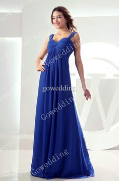 c1542bb823 Wholesale 2013 Unique royal blue ruffle Empire chiffon straps full length  Prom Dresses Evening Party Gowns