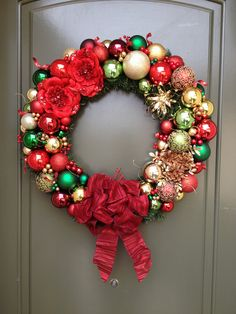 Red Green and Gold Christmas Wreath. via Etsy.
