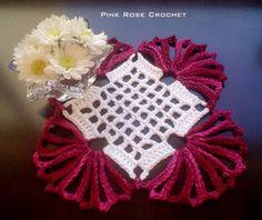 \ PINK ROSE CROCHET /: Centrinho Borgogna - Crochet Piazza Coaster