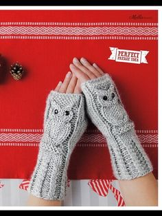 Owl Wrist Warmers-Mollie Makes-Issue Fingerless Gloves Knitted, Crochet Gloves, Wrist Warmers, Hand Warmers, Knitting Patterns Free, Free Knitting, Crochet Double, Knitted Owl, Toddler Sweater