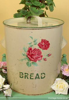 Vintage Home - Beautiful Vintage Worcester Ware Bread Bin with Roses; old and gorgeous! www.vintage-home.co.uk