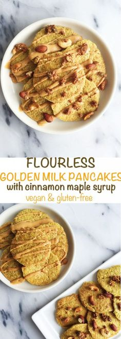 Flourless Golden Milk Pancakes! Vegan and gluten-free pancakes made with golden-milk, oat flour and healthy ingredients. A healthy and delicious pancake recipe that is good for you!