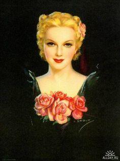 American illustrator and pin up artist Jules Erbit 1889 - 1968  beautiful woman with pink roses