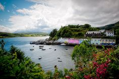 The lush colors of the town of Portree in the Inner Hebrides of Scotland: