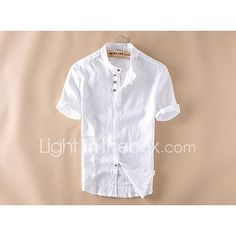 16c8e85d75 Men s Chinoiserie Linen Slim Shirt - Solid Colored Basic Standing Collar  White XL   Short Sleeve   Summer