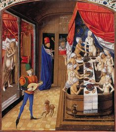 Look, Nightcaps!  the early years :).  from Robert Bartlett's Medieval Panorama.    Love the hanky panky in this one.  }-)
