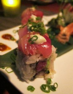 Virago - my favorite sushi in town. Try the Rainbow Box roll. It's expensive, but SO worth it!