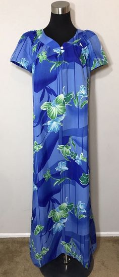 Hilo Hatties Hawaii Womens Size M Muu Moo Dress Maxi Floral Hibiscus Vintage #HiloHatties #Maxi #Casual