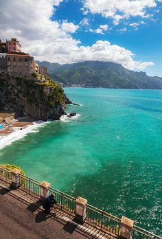 A view across the Amalfi Coast as seen from Atrani, Italy