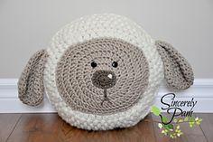 Little Lamb Pillow crochet pattern by #SincerelyPam www.ravelry.com/designers/sincerely-pam