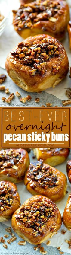 Best-Ever Overnight Pecan Sticky Buns - Whole and Heavenly Oven Classic sticky buns covered in an irresistible caramel-y pecan topping make the absolute best weekend breakfast ever! You won't believe how good these are. Brunch Recipes, Sweet Recipes, Breakfast Recipes, Dessert Recipes, Pecan Desserts, Top Recipes, Breakfast Casserole, Fall Recipes, Recipies