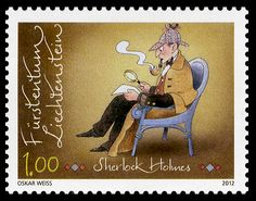 """Sherlock Holmes Stamp    One in a series of eight """"Famous Figures from Classical Literature"""". Released by the Liechtensteinischen Post AG in September of 2012.    Designed by Oskar Weiss"""