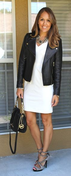 A black moto jacket instantly adds edge to any look. Wear one with your LWD (little white dress) for a glam girl's night out look.