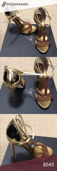 SALE✨Gold Giuseppe Zanotti Sandal Heels✨ Giuseppe Zanotti Sandals Size 35 New Made In Italy    Brand new Giuseppe Zanotti stiletto sandals in size 35. Made in Italy. Brown and gold leather. Leather sole. Beautiful metal hardware accent on the heels. Never worn - only tried on multiple times at home on carpeted surface. Open to reasonable offers ❤️ Giuseppe Zanotti Shoes Heels