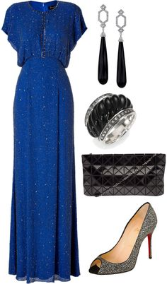 Blue Sequins Gown With Black Accessories