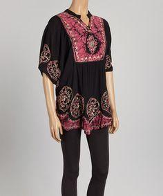 Look at this #zulilyfind! Black & Pink Tie-Dye Cape-Sleeve Tunic - Women #zulilyfinds
