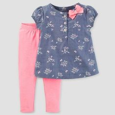 Baby Girls' 2 Piece Set Floral Chambray/Pink NB - Just One You Made by Carter's, Infant Girl's, Blue Baby Girl Frocks, Frocks For Girls, Toddler Girl Dresses, Toddler Outfits, Kids Outfits, Girls Frock Design, Baby Dress Design, Baby Girl Dress Patterns, Baby Frocks Designs