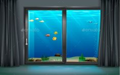 Interior Underwater Hotel by denisik12 Interior underwater hotel with panoramic window. Vector graphics. Transparent glass