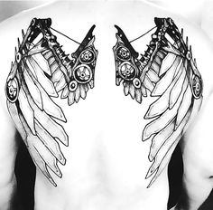 Creative Steampunk Wings Tattoo Idea - A creative and unique tattoo of a man wings in steampunk style.