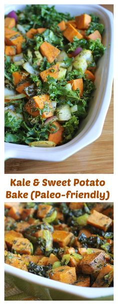 Kale & Sweet Potato Bake for a great healthy holiday side dish (with options for paleo and vegan). This is so easy to make with only three ingredients, but very flavorful and hearty.