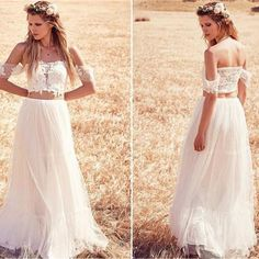 Two Pieces Off Shoulder Lace Top White Tulle Wedding Dresses, WD0001 The wedding dresses are fully lined, 4 bones in the bodice, chest pad in the bust, lace up back or zipper back are all available, t