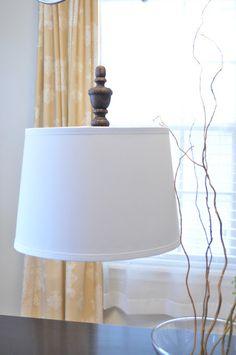 Great idea! West Elm knock off!  Actual site & link: http://justourlovelylife.blogspot.com/2012/02/diy-west-elm-turned-wood-pendant-light.html