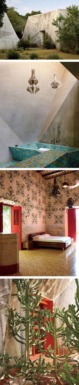 Living inside a work of art: Jorge Pardo's Tecoh project | External view; Blue Room bathroom tiles; patterned bedroom; exterior of the Orange Room | photo via W Magazine, photographer: Martyn Thompson