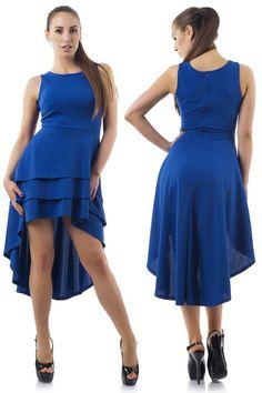 Дамска модерна рокля с удължен гръб