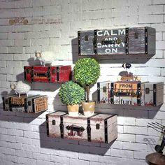 美式复古仿真行李箱皮箱创意酒吧咖啡厅墙面装饰壁饰店铺橱窗壁挂-tmall.com天猫