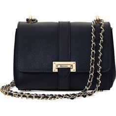 ASPINAL OF LONDON Lottie leather shoulder bag (1,930 PEN) ❤ liked on Polyvore featuring bags, handbags, shoulder bags, navy, navy leather handbag, blue purse, leather handbags, blue shoulder bag and genuine leather handbags