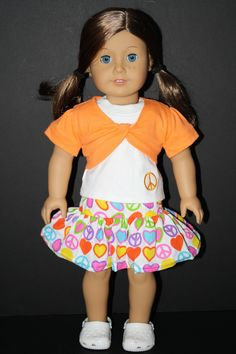 Peace Skirt With Orange Twist Top for American Girl $15.00