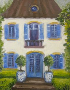 Original oil painting The Blue and White House by KIMPETERSONART