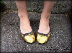 Turn any pair of shoes into glitter shoes using Modge Podge and glitter.