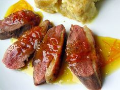 Duck Breasts a l'Orange - Duck breasts can be cooked perfectly in a saute pan, and the orange sauce served on top with mandarin orange slices or orange supremes. The sauce is the classic French sauce for this very famous recipe. It calls for making a gastrique, which is nothing more than caramel made with vinegar.