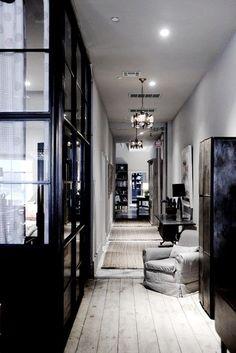 black & rustic hallway
