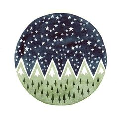 Pine trees Starry night.