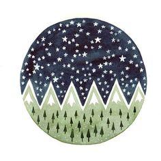 Pine trees Starry night.