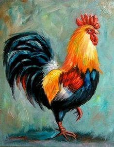 Art painting Oil - Details about Yvette Andino Art oil painting, proud rooster, chicken, cock, framed Simple Oil Painting, Modern Oil Painting, Oil Painting Abstract, Watercolor Paintings, Painting Art, Painting Clouds, Acrylic Painting Animals, Painting People, Painting Flowers