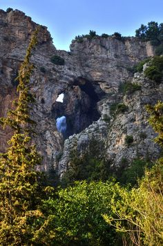 Lebanon, Bsherri, a waterfall out of a cave