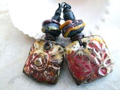 RUINS OF QUILMES Primitive Rustic Boho Tribal Dangle Earrings